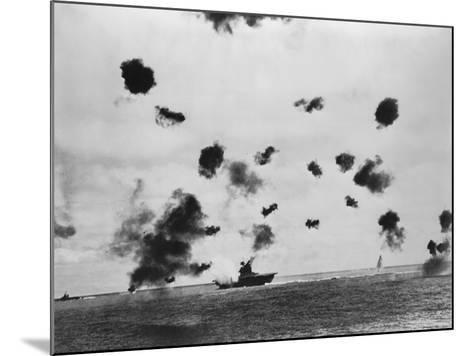 American Aircraft Carrier USS Yorktown Hit by a Japanese Bomb in the Battle of Midway--Mounted Photo