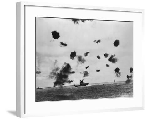 American Aircraft Carrier USS Yorktown Hit by a Japanese Bomb in the Battle of Midway--Framed Art Print