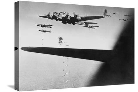 American B-17S Drop Bombs over Meudon--Stretched Canvas Print