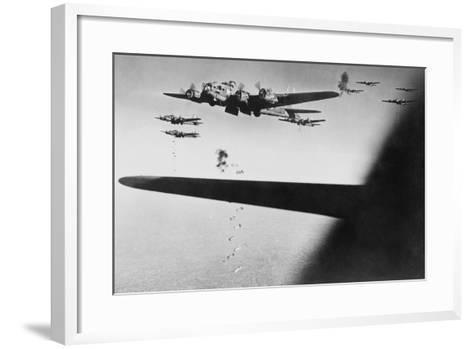 American B-17S Drop Bombs over Meudon--Framed Art Print