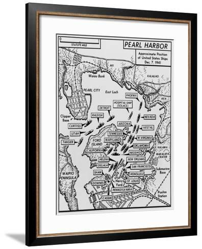 Map of Pearl Harbor with Location of Ships Just Prior to the Japanese Attack on Dec. 7, 1941--Framed Art Print