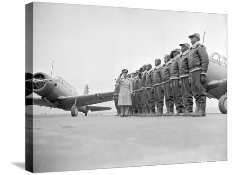 Major James Ellison Reviews First Class of Tuskegee Airmen--Stretched Canvas Print