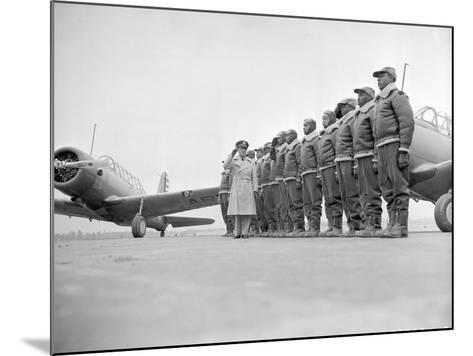 Major James Ellison Reviews First Class of Tuskegee Airmen--Mounted Photo