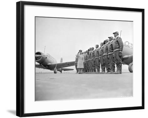 Major James Ellison Reviews First Class of Tuskegee Airmen--Framed Art Print