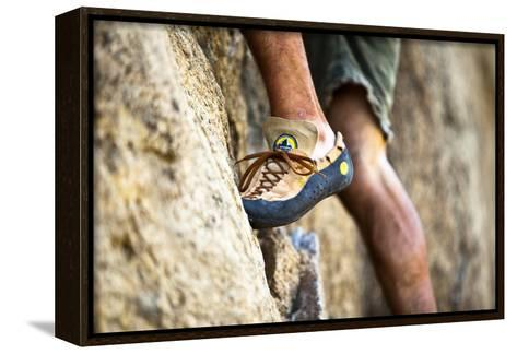 A Man's Climbing Shoe in Low Depth of Field at Granite Point in Eastern Washington-Ben Herndon-Framed Canvas Print