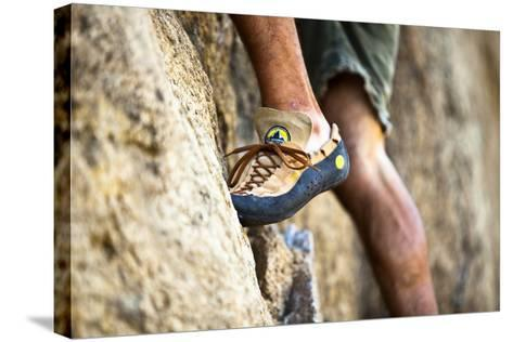 A Man's Climbing Shoe in Low Depth of Field at Granite Point in Eastern Washington-Ben Herndon-Stretched Canvas Print