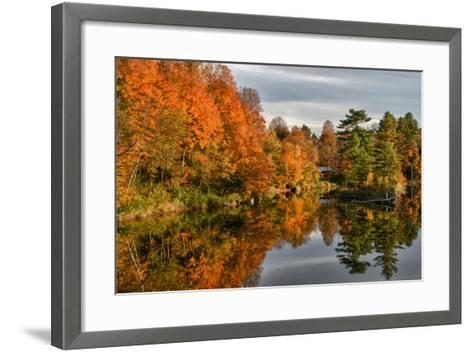 USA, Vermont, Morrisville. Lake Lamoille Reflecting Fall Foliage-Bill Bachmann-Framed Art Print