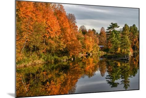 USA, Vermont, Morrisville. Lake Lamoille Reflecting Fall Foliage-Bill Bachmann-Mounted Photographic Print