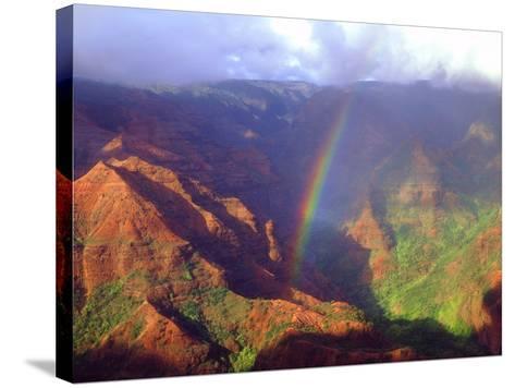 USA, Hawaii, Kauai. a Rainbow over Waimea Canyon-Jaynes Gallery-Stretched Canvas Print