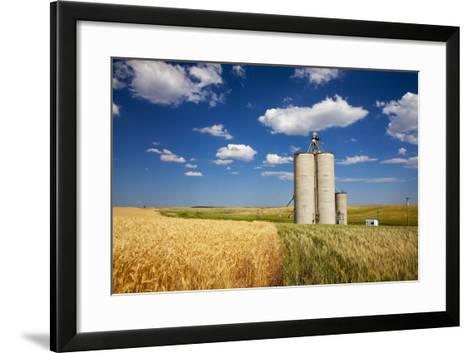 USA, Washington, Davenport. Silos Surrounded by Fields of Wheat-Terry Eggers-Framed Art Print