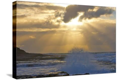Sunbeams over the Indian Ocean, Kalbarri, Western Australia-Timothy Herpel-Stretched Canvas Print