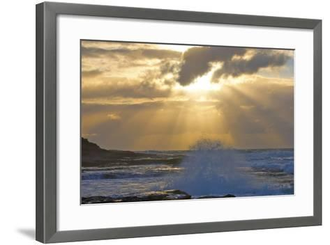 Sunbeams over the Indian Ocean, Kalbarri, Western Australia-Timothy Herpel-Framed Art Print