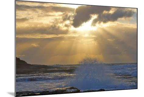 Sunbeams over the Indian Ocean, Kalbarri, Western Australia-Timothy Herpel-Mounted Photographic Print
