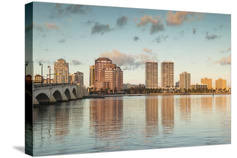 USA, Florida, West Palm Beach, City View with Royal Park Bridge, Dawn-Walter Bibikow-Stretched Canvas Print