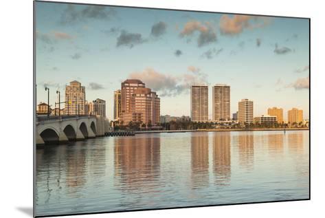USA, Florida, West Palm Beach, City View with Royal Park Bridge, Dawn-Walter Bibikow-Mounted Photographic Print