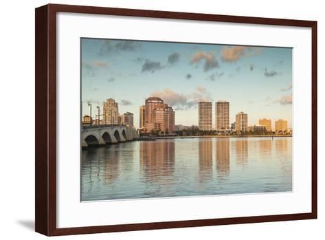 USA, Florida, West Palm Beach, City View with Royal Park Bridge, Dawn-Walter Bibikow-Framed Art Print