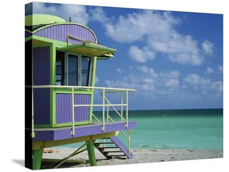 Lifeguard Tower Along South Beach-James Randklev-Stretched Canvas Print