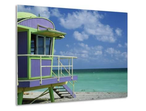 Lifeguard Tower Along South Beach-James Randklev-Metal Print