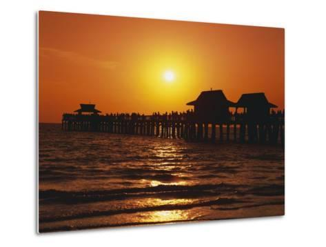 Sun Setting Above Naples Pier-James Randklev-Metal Print