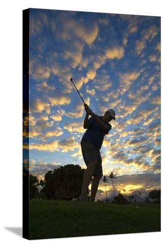 Silhouette of Golfer at Sunset, Maui, Hawaii-Ron Dahlquist-Stretched Canvas Print