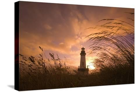 Yaquina Head Lighthouse at Sunset-Craig Tuttle-Stretched Canvas Print