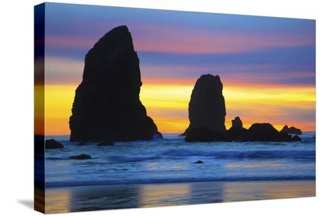 Sunset at Low Tide, Needles, Canon Beach, Oregon Coast-Craig Tuttle-Stretched Canvas Print