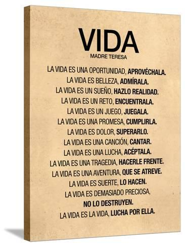 Vida por Madre Teresa Poema--Stretched Canvas Print