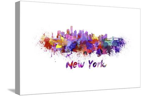 New York Skyline in Watercolor-paulrommer-Stretched Canvas Print