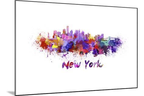 New York Skyline in Watercolor-paulrommer-Mounted Art Print