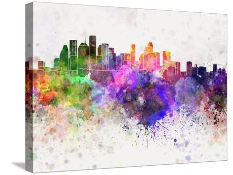 Houston Skyline in Watercolor Background-paulrommer-Stretched Canvas Print