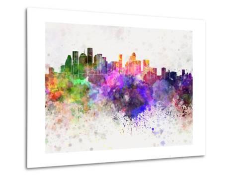 Houston Skyline in Watercolor Background-paulrommer-Metal Print