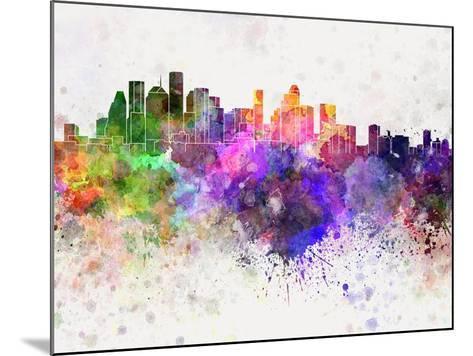 Houston Skyline in Watercolor Background-paulrommer-Mounted Art Print