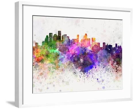 Houston Skyline in Watercolor Background-paulrommer-Framed Art Print