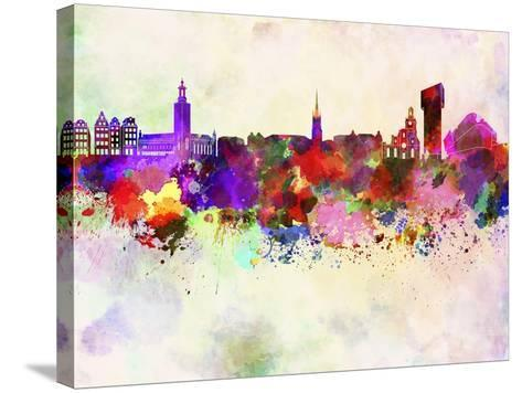 Stockholm Skyline in Watercolor Background-paulrommer-Stretched Canvas Print