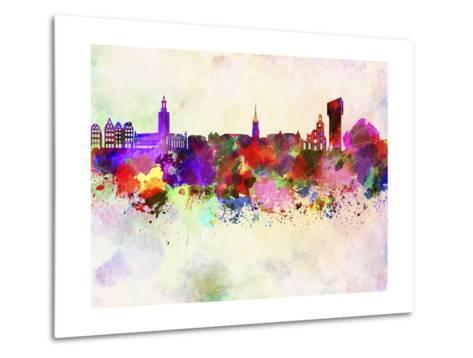 Stockholm Skyline in Watercolor Background-paulrommer-Metal Print