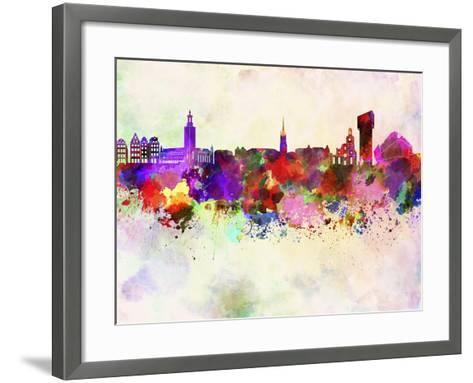 Stockholm Skyline in Watercolor Background-paulrommer-Framed Art Print