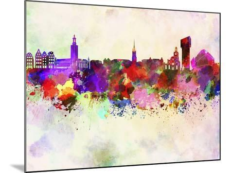 Stockholm Skyline in Watercolor Background-paulrommer-Mounted Art Print