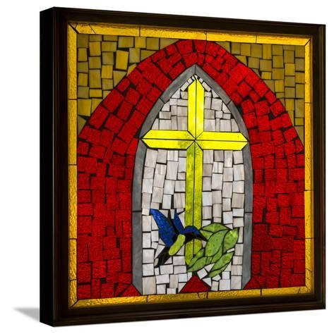 Stained Glass Cross II-Kathy Mahan-Stretched Canvas Print