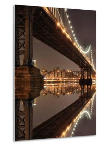New York City Skyline and Manhattan Bridge at Night-Zigi-Metal Print
