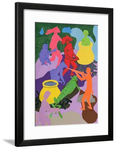 Candide and Cacambo Witness Two Monkeys Pursuing Two Naked Women-Hugh Bulley-Framed Art Print