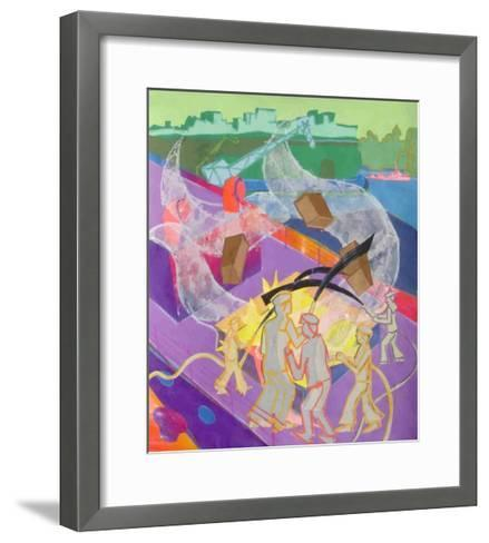 The King Edwin Ablaze, Plate 33 from 'A Boy at Sea'-Hugh Bulley-Framed Art Print