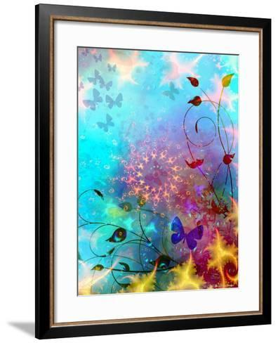 Turquoise Sea and Sky with Butterflies, 2014-AlyZen Moonshadow-Framed Art Print