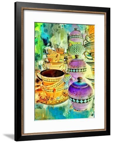 Gold and Purple Stacks, 2014-AlyZen Moonshadow-Framed Art Print