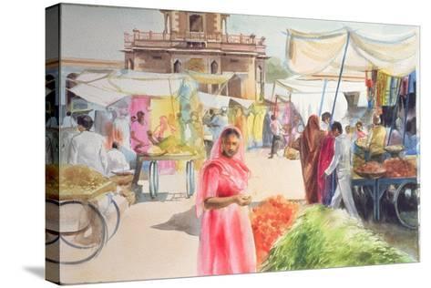 Indian Market, Jodhpur, 1991-Penelope Anstice-Stretched Canvas Print