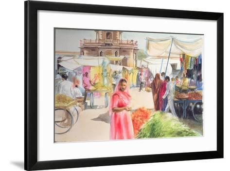Indian Market, Jodhpur, 1991-Penelope Anstice-Framed Art Print