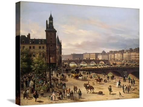 Le Marché aux fleurs, la Tour de l'Horloge, le Pont au Change et le Pont-Neuf-Giuseppe Canella-Stretched Canvas Print