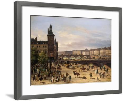 Le Marché aux fleurs, la Tour de l'Horloge, le Pont au Change et le Pont-Neuf-Giuseppe Canella-Framed Art Print