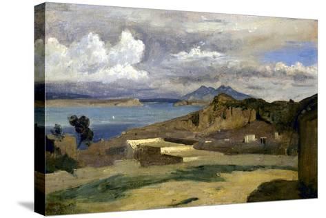 Ischia. Vue prise des pentes du mont Epomeo, au fond: Capri et le Vésuve-Jean-Baptiste-Camille Corot-Stretched Canvas Print