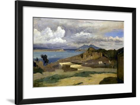 Ischia. Vue prise des pentes du mont Epomeo, au fond: Capri et le Vésuve-Jean-Baptiste-Camille Corot-Framed Art Print