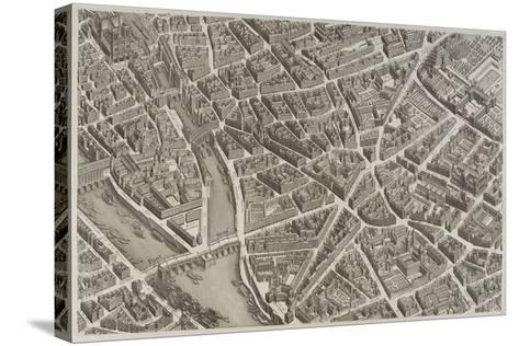 Plan de Paris (1734-1739) dit plan de Turgot, La Seine, le Pont-Neuf, l'île de la Cité, Notre-Dame--Stretched Canvas Print